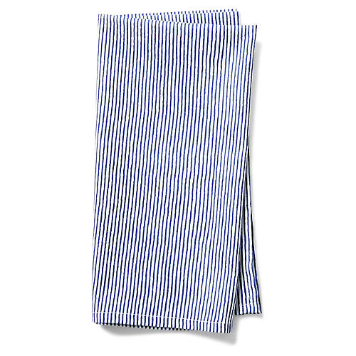 S/4 Cambric Capellini Dinner Napkins, Navy/White