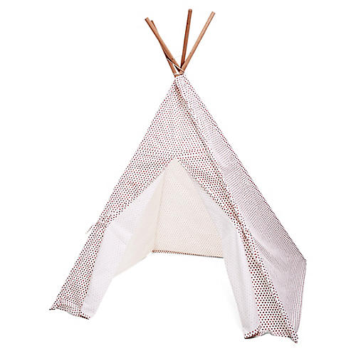 Hearts Teepee, Pink/White
