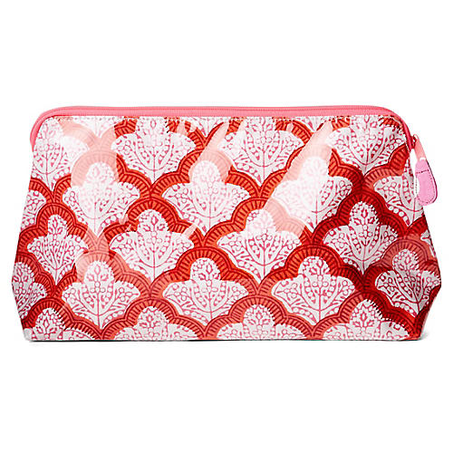 Jemina Makeup Bag, Red/White