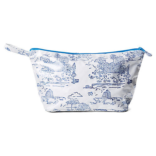 La Baule Toiletry Case, Blue/White