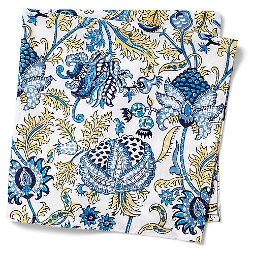 S/4 Amanda Dinner Napkins, Sky Blue/Multi