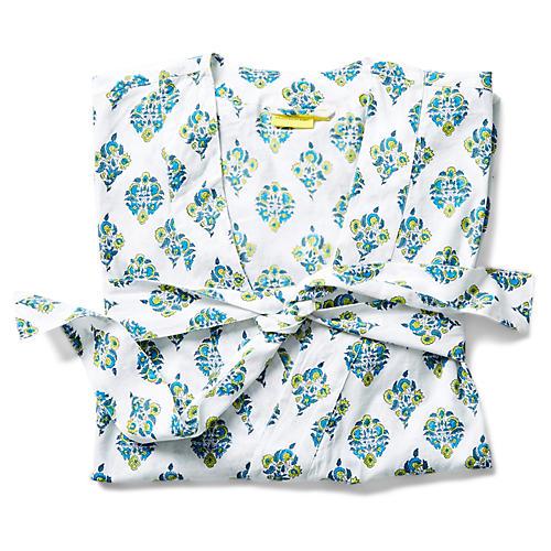 Priya Short Cotton Kimono, Teal/Multi