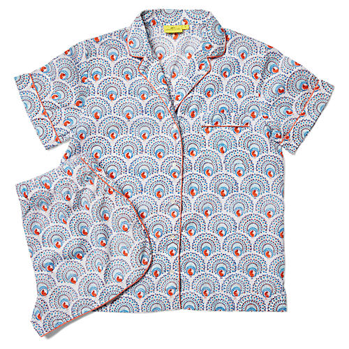 Peacock Short Cotton Pajama Set, Neo Aqua