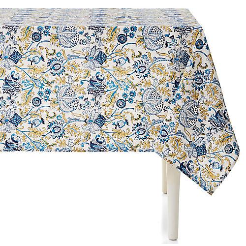 Amanda Tablecloth, Sky Blue/Multi