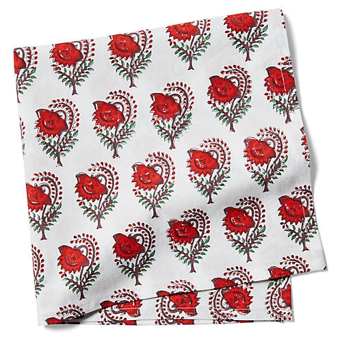 S/4 Ketaki Dinner Napkins, Soft Red