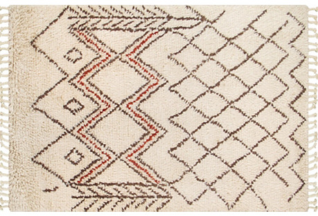 6'x9' Kent Hand-Knotted Rug, Beige
