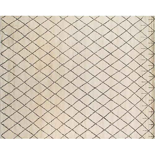 "9'3""x11'9"" Pasa Hand-Knotted Rug, Ivory"