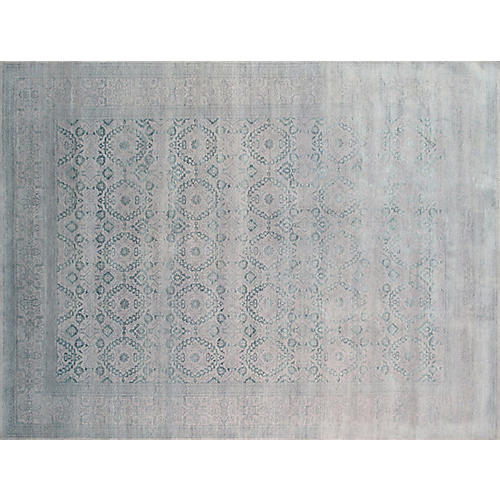 "9'2""x12'2"" Transitional Hand-Knotted Rug, Green"