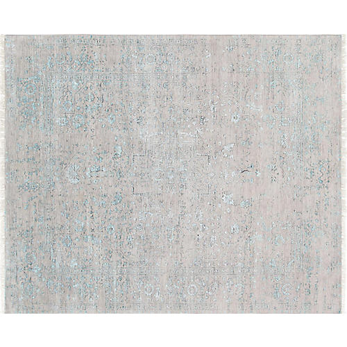 "7'11""x9'9"" Transitional Hand-Knotted Rug, Sky Blue"