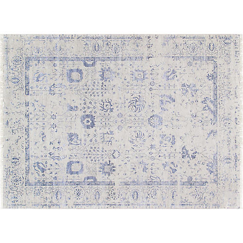 "9'10""x13'7"" Transitional Hand-Knotted Rug, Silver"