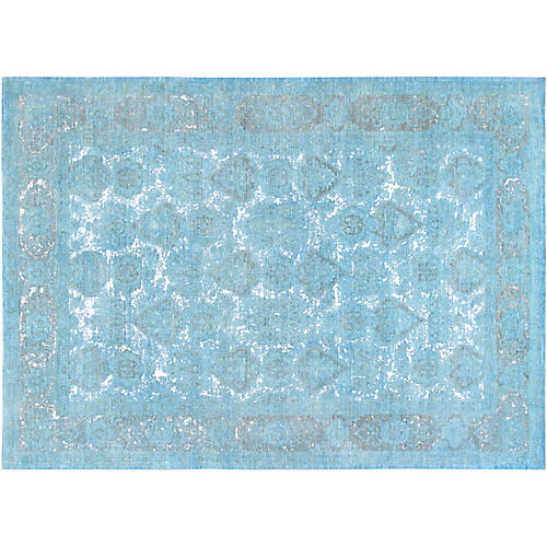 "9'9""x13'5"" Overdyed Hand-Knotted Rug, Baby Blue"