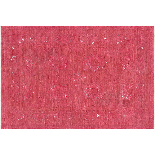 4'x6' Overdyed Hand-Knotted Rug, Red