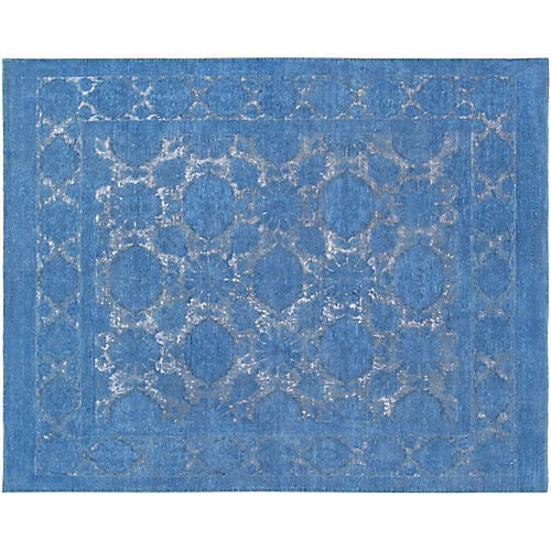 "7'8""x9'8"" Overdyed Hand-Knotted Rug, Blue"