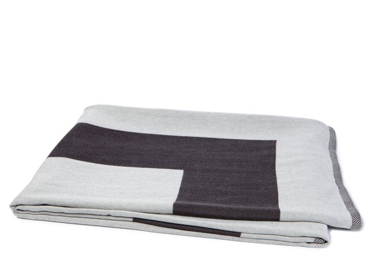 Merino Wool Border Throw, Ivory/Gray