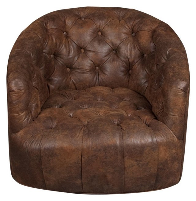 Low Button-Tufted Swivel Chair