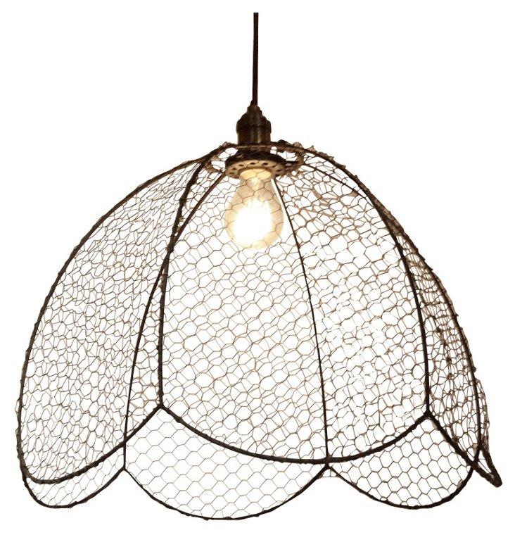 Wire Mesh Light Fixture, Tulip Shape