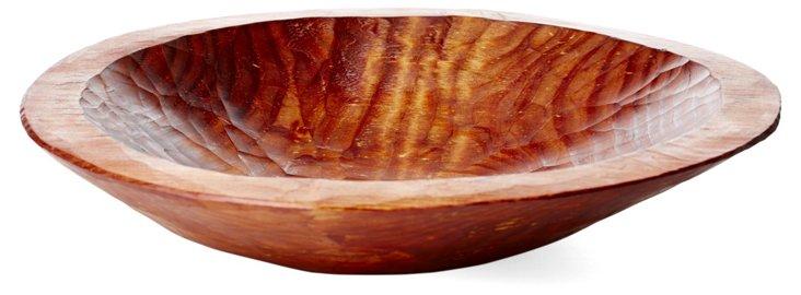 "12"" Round Pine Bowl, Rich Coffee Finish"