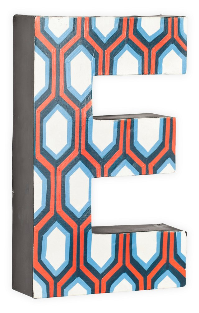 Letter E, Blue And Orange Hexagon