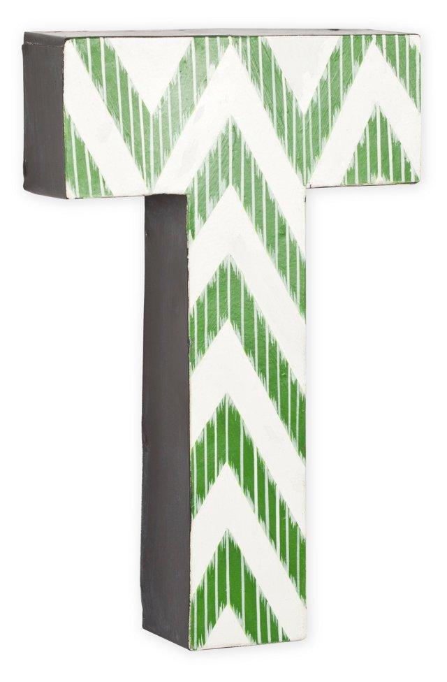 Letter T, Green Zigzag Chevron