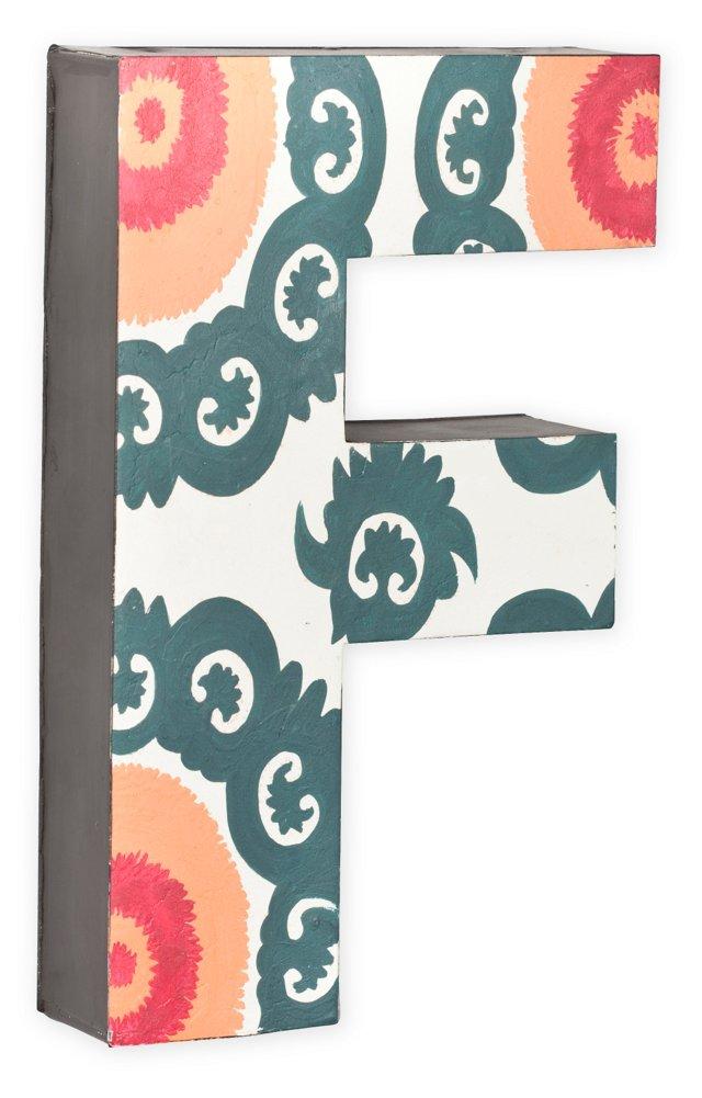 Letter F, Gray, Orange, Fuchsia Pattern