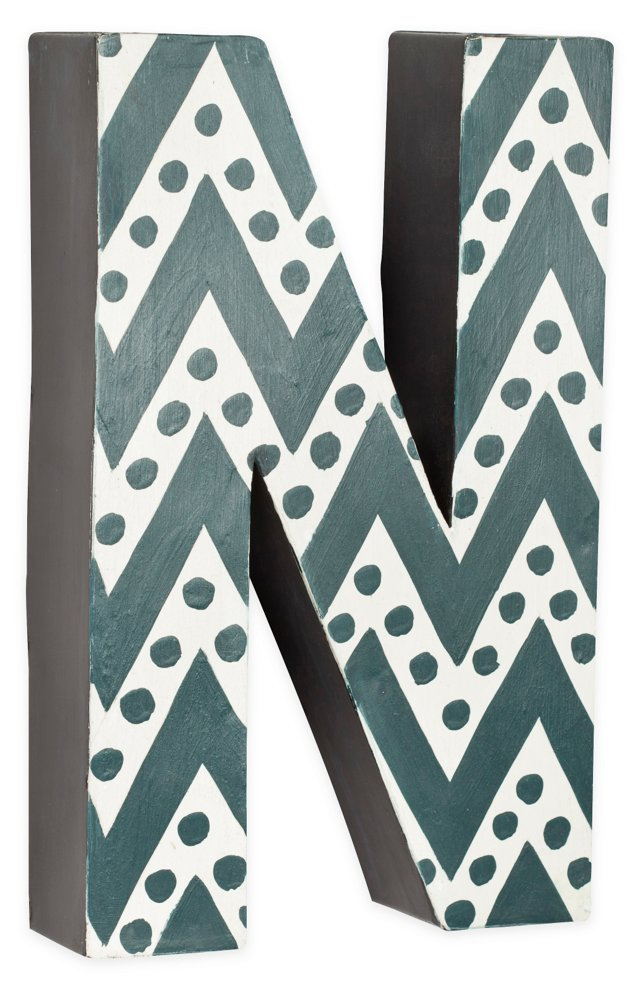 Letter N, Gray Zigzag Chevron With Dots