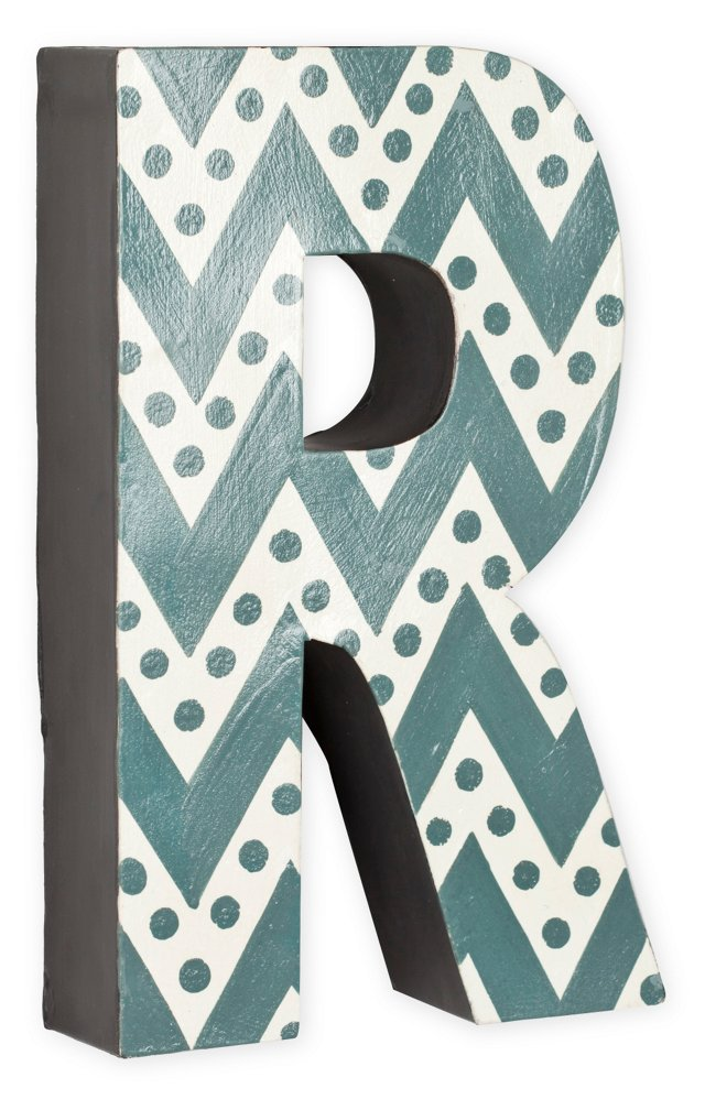 Letter R, Gray Zigzag Chevron With Dots