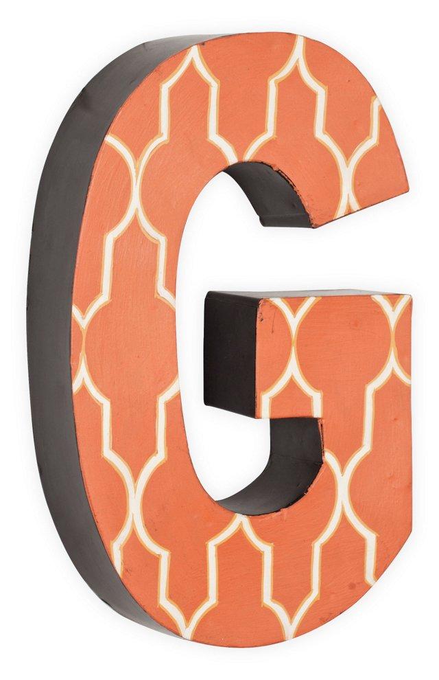 Letter G, White Quatrefoil On Orange