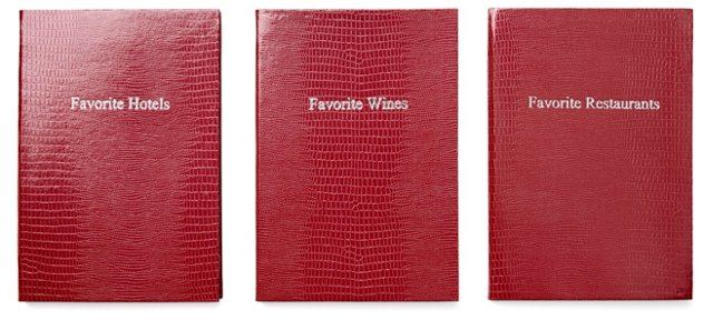 """Asst of 3 """"Favorite"""" Journals, Red"""