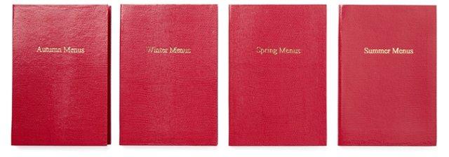 """Asst of 4 """"Menus"""" Journals, Cherry"""