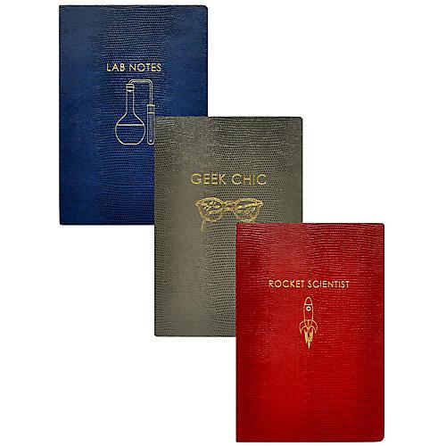 Asst. of 3 Geek Chic Journals, Red/Multi