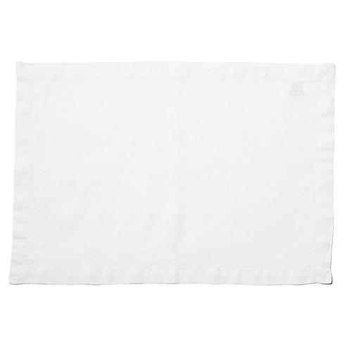 S/4 Washed-Linen Place Mats, White