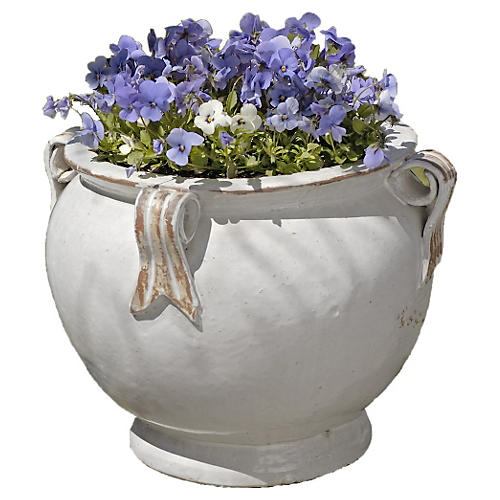 "15"" Round Handle Planter, Antique White"