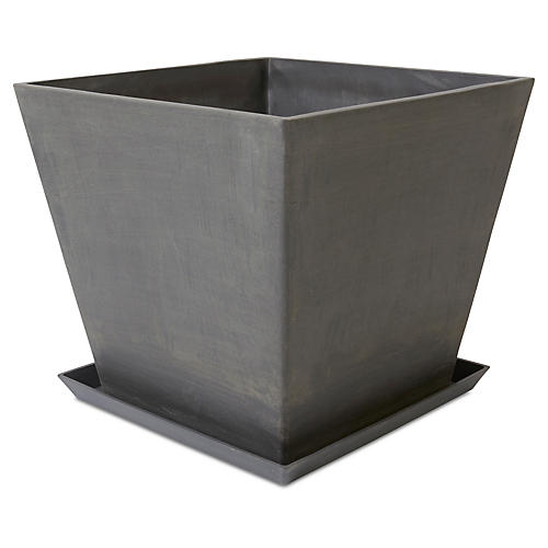 Ecopot Square Planter w/ Saucer, Gray
