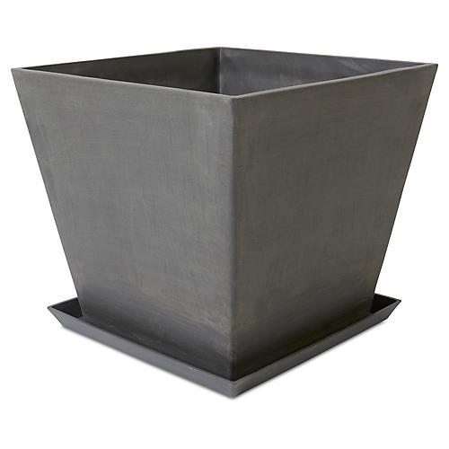 Ecopot Square Planter w/ Saucer, Gray