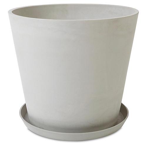 "20"" Ecopot Round Planter w/ Saucer, Stone"
