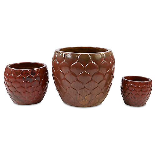 Asst. of 3 Pina Planters, Sunset Red