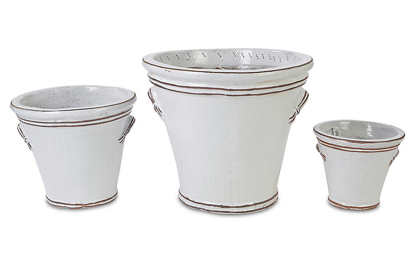 Asst. of 3 Fluted Handle Planters, Antiqued White