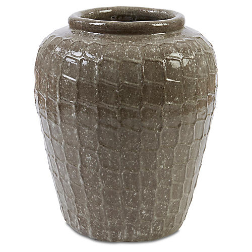 "28"" Netto Jar Planter, Brown"