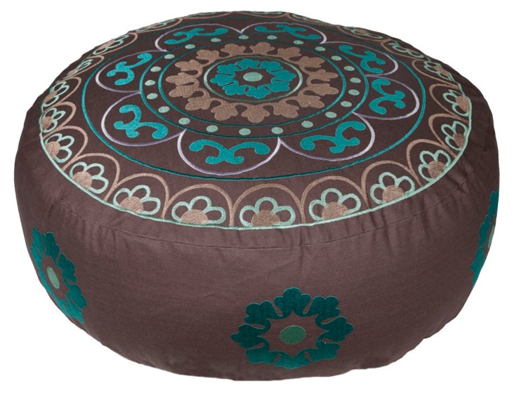 Ella Large Embroidered Pouf, Brown/Blue