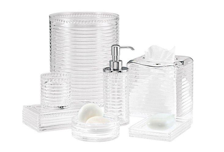 Pearl Stripe 7 Piece Bath Set, Clear/Chrome