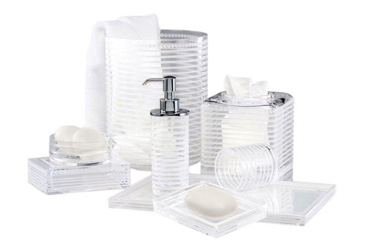 Pearl Stripe 8 Piece Bath Set, Frost/Chrome