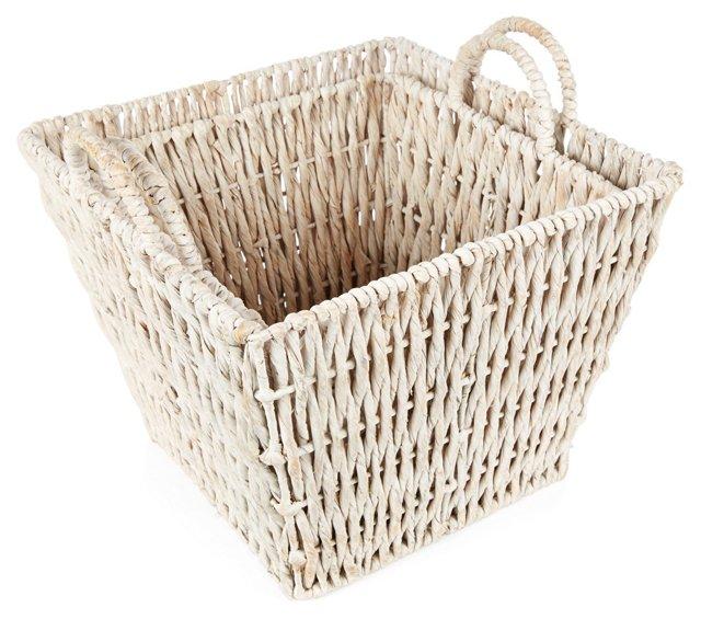 Asst. of 2 Whitewash Square Baskets