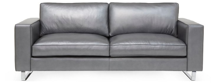 "Soho 89"" Leather Sofa, Dark Gray"