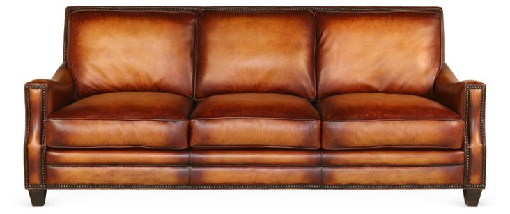 "Daniella 93"" Leather Sofa, Cognac"