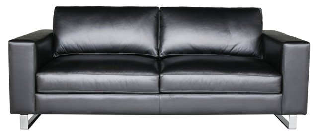 "Soho 89"" Leather Sofa, Onyx"