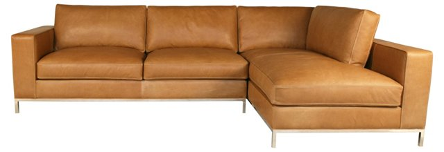 Mayfair Leather Sectional, Beige
