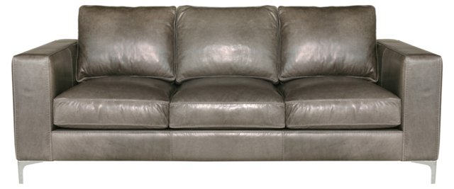 "Vogue 89"" Leather Sofa, Wolf Gray"