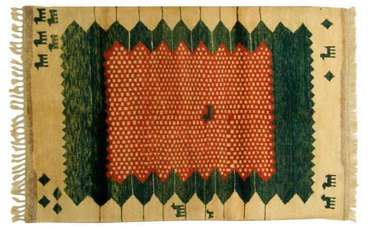 "4'4""x6'9"" Gabbeh Rug, Tan/Forest Green"