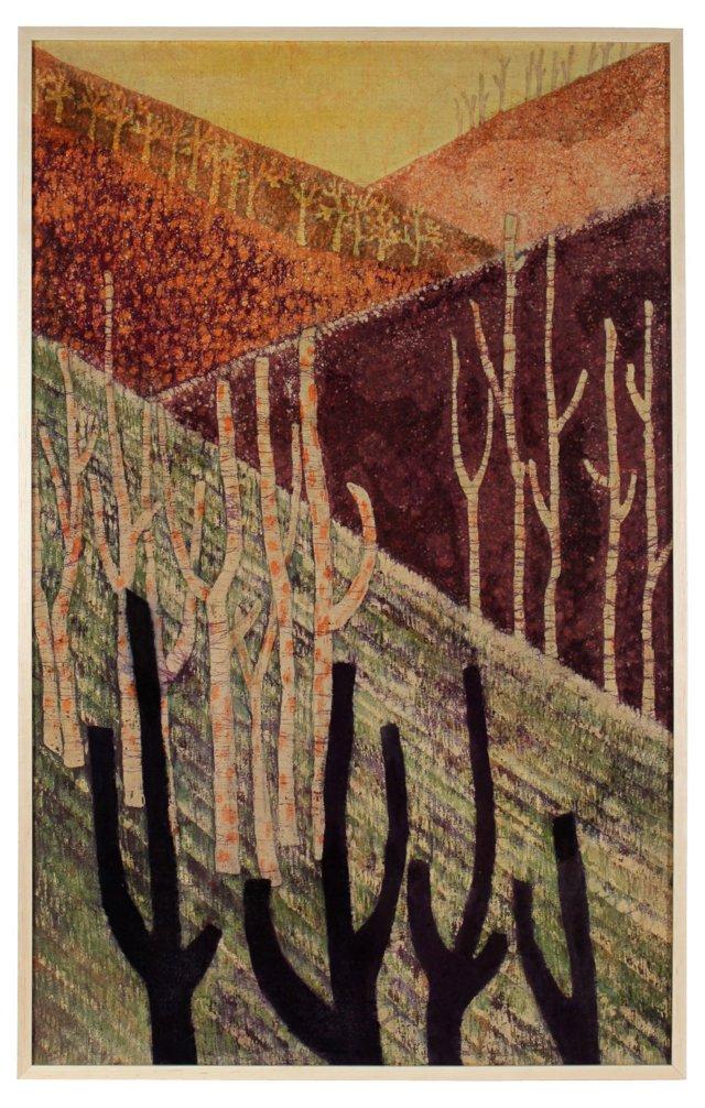 Sunset Batik on Silk by Michi Fujita