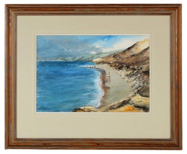 Midcentury Coastal Scene Watercolor